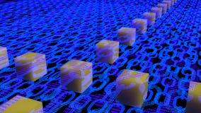Blaue flache Ketten mit binärer Beschaffenheit und mehrfache Schichten und flo Stockbild