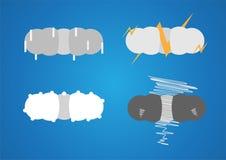 Blaue flache Wolken lokalisiert auf grauem und weißem Hintergrund Papier c Lizenzfreies Stockfoto