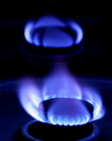 Blaue Flamme des Gases Lizenzfreie Stockfotos