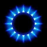 Blaue Flammen eines brennenden Erdgases Stockfotografie