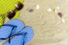Blaue Flipflops, Sonnenbrille auf sandigem Strand mit Muscheln lizenzfreie stockbilder