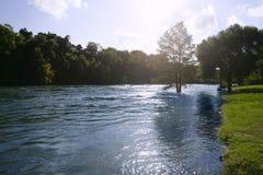 Blaue Flusslandschaft nahe San Antonio Texas stockbild