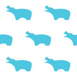 Blaue Flusspferd-Illustration Nahtloses Muster Einfache Kinderart Vektorabbildung EPS10 Stockfotografie