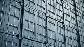 Blaue Frachtbehälterwand Wiedergabe 3d Stockfotos