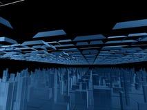 Blaue futuristische Fantasieaufbauten Stockfotografie