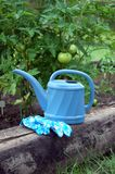 Blaue Garten-Gießkanne mit Handschuhen lizenzfreie stockfotografie