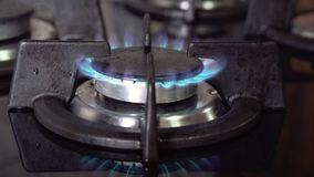 Blaue Gasflammen, brennendes Gas, Küchenofenbrenner stock footage