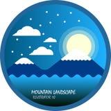 Blaue Gebirgs- und Mondnacht mit Wolke und Schnee, flacher Vektor und Illustration kreisen Landschaft ein Lizenzfreie Abbildung