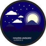 Blaue Gebirgs- und Mondnacht mit Wolke und Schnee, flacher Vektor und Illustration kreisen Landschaft ein Vektor Abbildung