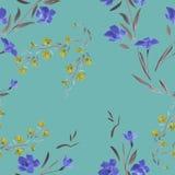 Blaue gelbe Blumen des nahtlosen Musters auf einem Türkishintergrund Stockfotos