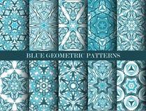 Blaue geometrische Mustersammlung Lizenzfreies Stockfoto