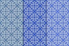 Blaue geometrische Verzierungen Set nahtlose Muster Stockfoto