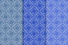 Blaue geometrische Verzierungen Set nahtlose Muster Stockbild