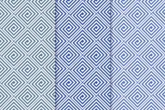 Blaue geometrische Verzierungen Set nahtlose Muster Lizenzfreie Stockfotografie