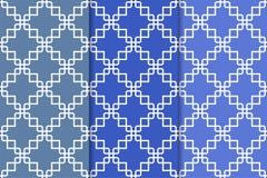 Blaue geometrische Verzierungen Set nahtlose Muster Lizenzfreie Stockfotos