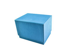 Blaue Geschenkbox mit Deckel Stockfotos
