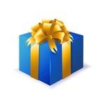 Blaue Geschenkbox mit dem gelben Band Stockfotografie