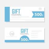 Blaue Geschenkgutscheinschablone mit buntem Muster, nette Geschenkgutscheinzertifikatkupon-Designschablone Stockfoto