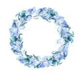 Blaue Ginkgoniederlassungen und abstrakter Blattkranz Hand gezeichnetes Aquarell lizenzfreie abbildung