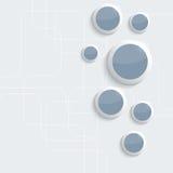 Blaue glänzende, glatte Plastikringe auf Blau Stockfotografie