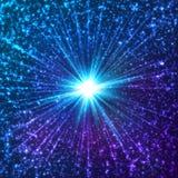 Blaue glänzende kosmische Vektorsterne Stockbild