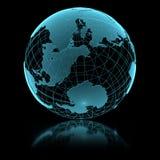 Blaue glänzende transparente Erdkugel Stockfoto