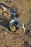 Blaue Gläser mit den geflochtenen Fahrwerkbeinen stockfoto