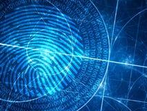 Blaue glühende Fibonacci-Kreise mit digitalem Fingerabdruck Lizenzfreies Stockfoto