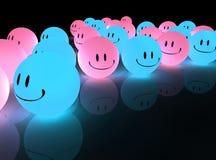 Blaue glühende smiley stock abbildung