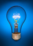 Blaue Glühlampe Stockfoto