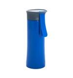 Blaue GlasThermosflasche auf einem weißen Hintergrund Stockfotografie