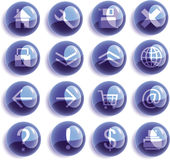 Blaue Glasweb-Ikonen, Tasten Lizenzfreie Stockfotografie