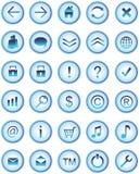 Blaue Glasweb-Ikonen, Tasten Lizenzfreie Stockfotos
