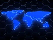blaue glühende Karte 3d über Schwarzem Lizenzfreies Stockbild