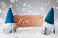 Blaue Gnomen mit Karte, Joyeux Noel Means Merry Christmas Lizenzfreies Stockfoto