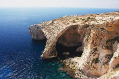 Blaue Grotte, Malta Stockbild