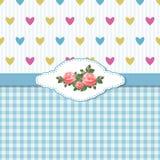 Blaue Gruß-Karte mit Rosen und Herzen Stockbild