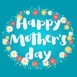 Blaue Grußkarte des glücklichen Muttertags Stockbild