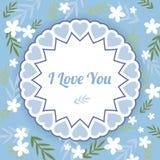 Blaue Grußkarte mit weißen Blumen Stockfotografie