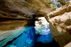 Blaue Grube Stockbild