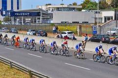Blaue Gruppe Radfahrer Stockfotografie
