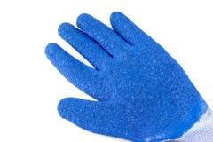 Blaue Gummihandschuhe auf einem weißen Hintergrund Stockbild