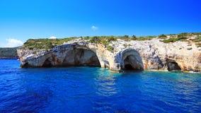 Blaue Höhlen in Zakynthos-Insel Lizenzfreie Stockfotos