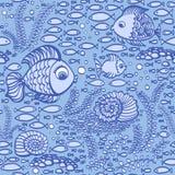 Blaue Hand gezeichnete Fische Tapetentextilmuster Lizenzfreie Stockfotos