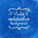 Blaue Hand gezeichneter Vektoraquarellhintergrund Stockbilder