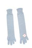 Blaue Handschuhe mit kleinen rosa Blumen Stockfotografie