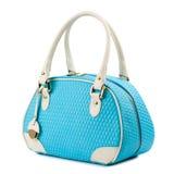 Blaue Handtasche mit den Lichtgriffen lokalisiert auf weißem Hintergrund Lizenzfreies Stockfoto