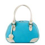 Blaue Handtasche mit den Lichtgriffen lokalisiert auf weißem Hintergrund Lizenzfreie Stockfotos
