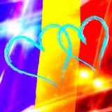 Blaue Herzen auf rumänischem Flaggenhintergrund Stockfotografie