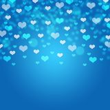 Blaue Herzen bokeh Karte/Beschaffenheit/Hintergrund lizenzfreie stockfotos